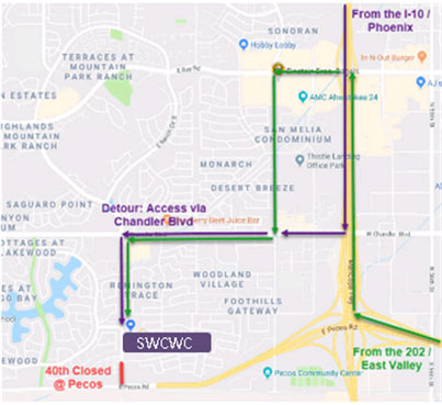 Map for patients to detour construction on 40th Street